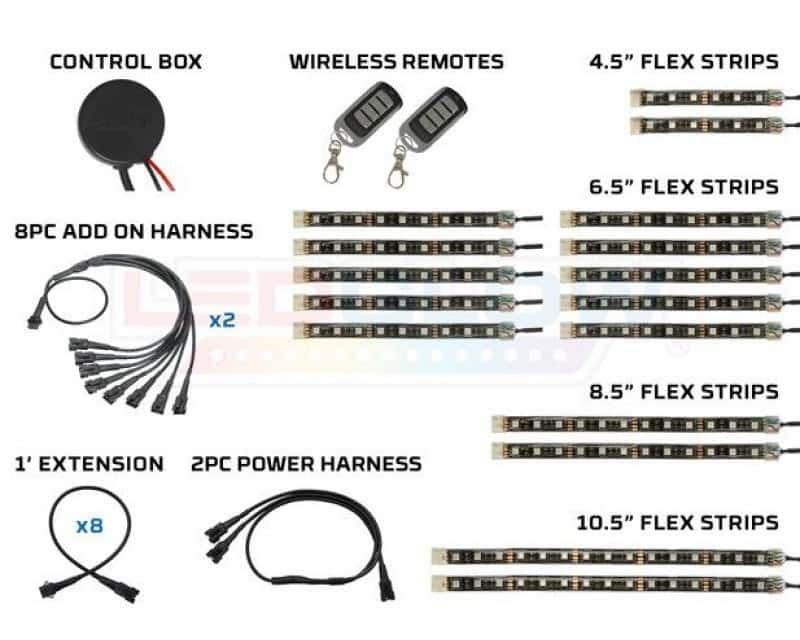LEDGlow Advanced Million Color Motorcycle LED Light System  - 16pc Kit