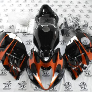 Black and Orange Tribal with Chrome - 1997 to 2007 Hayabusa GSXR1300 Front